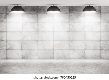 Interior background of a room with concrete tiled wall, beton floor and lamps 3d rendering