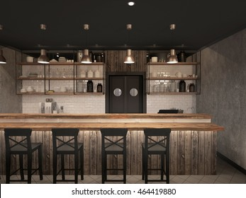 Interior of bar. 3d rendering