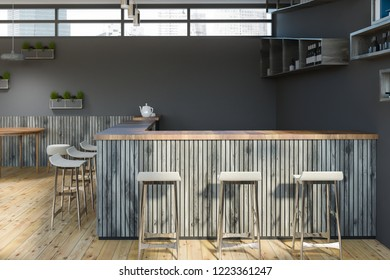 Interior of bar with gray walls, wooden floor, gray wooden bar and rows of stools. Bottles on the shelves. 3d rendering