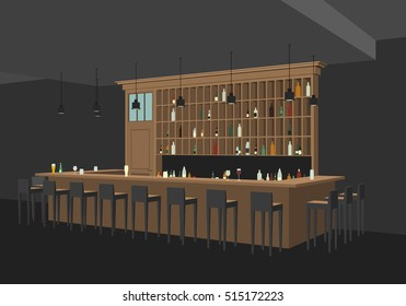 Interior of bar restaurant in flat style. Perspective view of interior with bar table, stools and shelves with alcohol.