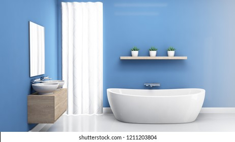An interior of a bathroom with blue walls a modern bath tub and white reflective floors - 3D render