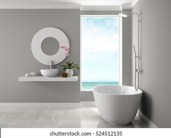 Interior of bathroom with sea view 3D rendering