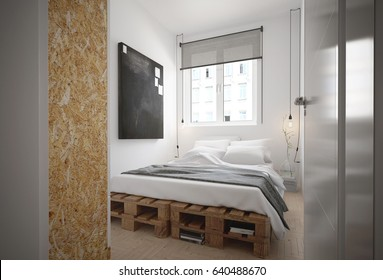 Interior of a bedroom in industrial style - 3 D render