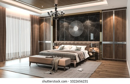 Interior bedroom studio mock-up, modern contemporary style, 3D rendering, 3D illustration