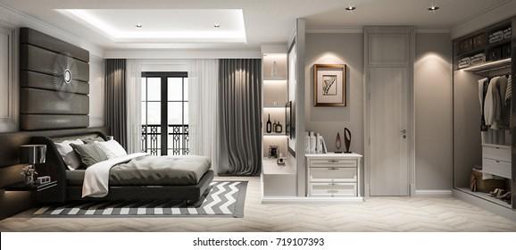 Interior bedroom studio mock-up, modern classic style, 3D rendering, 3D illustration