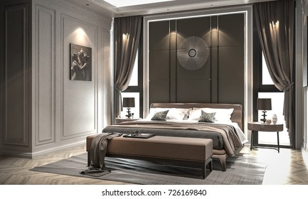 Interior bedroom studio mock-up, modern classic style, 3D rendering, 3D illustration