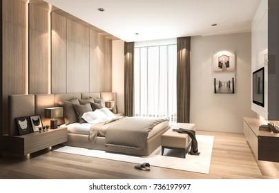 Interior bedroom studio mock-up, modern contemporary style, earth tone, 3D rendering, 3D illustration