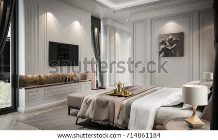 Interior Bedroom Studio Mock Up, Modern Classic Style, 3D Rendering, 3D  Illustration