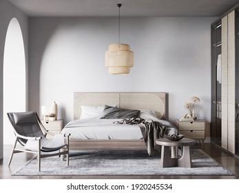 Interior Bedroom Wall Mockup - 3d Rendering, 3d Illustration