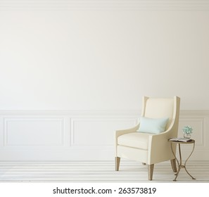 Interior with beige armchair near white wall. 3d render.