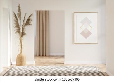 Die Einrichtung eines beigen Saales mit einem vertikalen Poster, Pampas-Gras in einer Korbvase zwischen den Türen, Teppichboden auf Parkettboden, der auf einen Raum mit Fenster zeigt. 3D-Darstellung