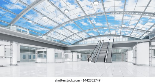 Interior is a blank space of a two-story hall with a vaulted transparent roof. 3d illustration day view