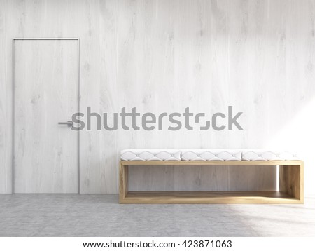 Stupendous Interior Blank Wooden Wall Bench Door Stock Illustration Onthecornerstone Fun Painted Chair Ideas Images Onthecornerstoneorg