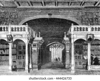 Interior of the Bodleian Library at the University of Oxford, vintage engraved illustration. Magasin Pittoresque 1842.