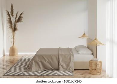 Einrichtung eines hellen Schlafzimmers mit leerer Wand, Pampas-Gras in einer Korbvase, Lampen auf den Nachttischen von Bambus, Doppelbett mit Baumwollbettwäsche, beiger Teppichboden auf dem Parkettboden. 3D-Darstellung