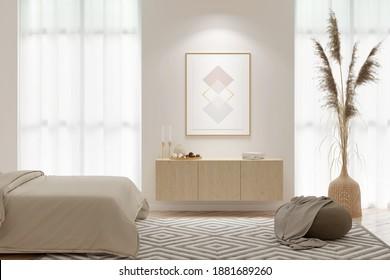 Interieur eines hellen Schlafzimmers mit einem senkrechten Plakat an der Wand zwischen den Fenstern, einem hölzernen Kalkstein, Pampas-Gras in einer Weidenvase, einem Deckengewölbe aus gestrichenem Stoff, einer Decke auf dem Bett. 3D-Darstellung