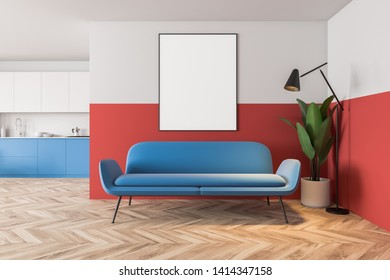 Phenomenal Blue Wall Red Sofa Images Stock Photos Vectors Shutterstock Ibusinesslaw Wood Chair Design Ideas Ibusinesslaworg