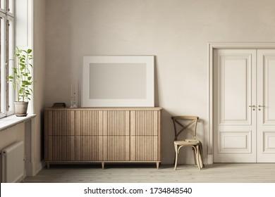 Interieur eines hellen Raumes mit einem weißen horizontalen Poster auf einem Holzkommode, zwischen dem Fenster und der Tür. Vorderansicht. Mockup. 3d rendern.