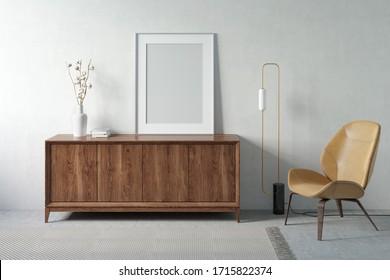 Einrichtung eines hellen Raumes mit einem senkrechten Plakat auf einem Holzblock, Ästen aus Baumwolle in einer Vase, einer Bodenlampe und einem modernen Sessel. Vorderseite. Geh nach oben. 3D-Darstellung
