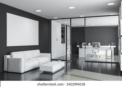 Interior of CEO office and waiting room with black walls, tiled floor, glass computer table, bookcases with folders and lounge area with sofa in foreground. Horizontal mock up poster. 3d rendering