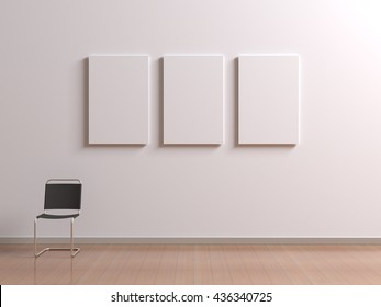 Interior with chair for visitors or staff member, posters template with clean blank for branding design or advertising on white wall. Paintings frame set mock up in museum or gallery. 3d illustration