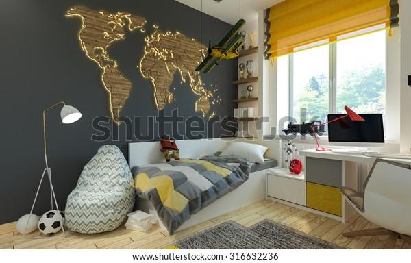 interior children's bedroom in modern style. 3D illustration