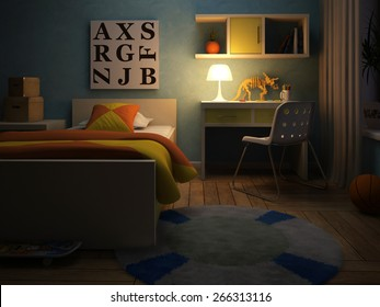 Interior of the childroom in the night 3D rendering