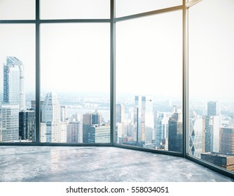 interior with city view. Success concept. Side view, 3D Rendering