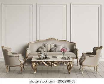 Interior with classic furniture mockup 3d rendering