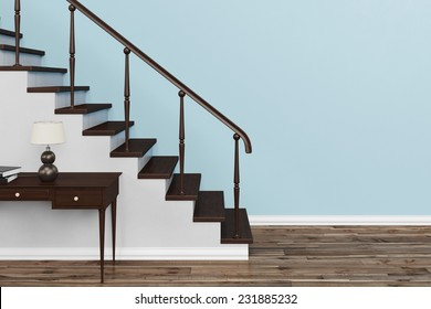 Interior of classic staircase with stairs in a house (3D Rendering)