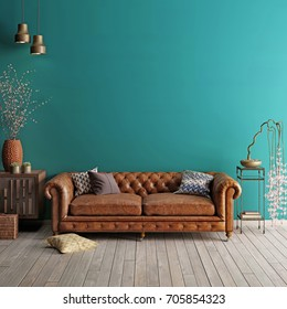 Interior in classic style with soft sofa and lamps with decor. Wall for mock up. 3d render.
