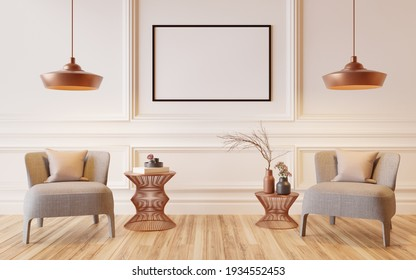 Interior in classic style in white with armchairs and lamps with picture frames, wall mounted, 3D renderings.