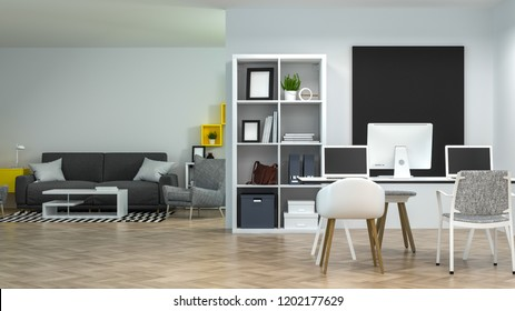 interior co working environments decoration living Room lounge With sofa and armchair model home office Meeting rooms have computers and notebooks.Online Business 3d rendering Work at home
