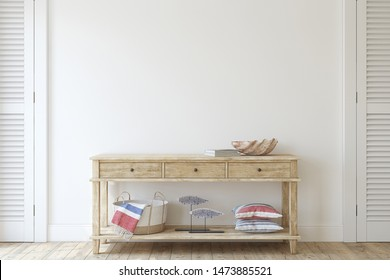 Interior in coastal style. Console table near empty white wall. Interior mockup. 3d render.