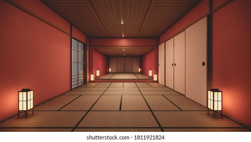 The interior color Red room inteior with tatami mat floor.3D rendering