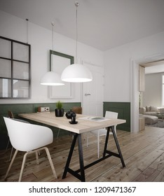 Interior of a comfortable home office - 3 d render