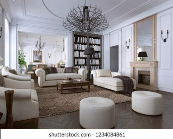 Interior of comfy and bright living room in classic style. 3D rendering.