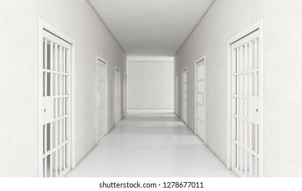 An interior concept a well lit corridor in a modern prison showing shut jail cells doors - 3D render