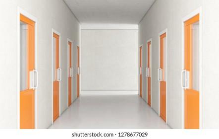 An interior concept a well lit corridor in a modern prison showing orange shut jail cells doors - 3D render