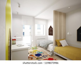 Interior of the cool and modern kids room - 3 d render