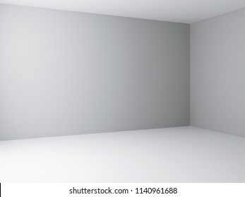 Interior corner view template. White background with light grey walls and white floor. 3d rendering illustration.
