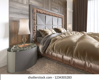 interior of cozy bedroom in modern design with armchair, floor lamp, TV unit retractable TV and dress table. 3D rendering