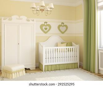 Interior of cozy nursery. 3d render.