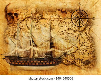 Interior decor old pirate map with a ship and a skull. 3d rendering.