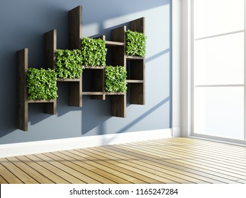 Interior with decorative shelves and vertical garden. 3D illustration.
