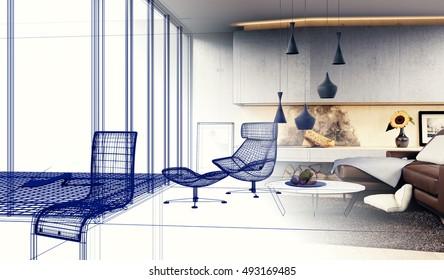 Interior Design - 3D render of a Modern Living room (Sketch)