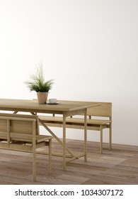 interior design about dining area in minimal design ,3d rendering.3d illustration