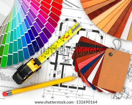 Charmant Interior Design. Architectural Materials, Measuring Tools And Blueprints. 3d