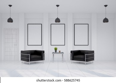 Interior design of avmodern waiting room with two angular leather armchairs, a coffee table and three vertical framed posters hanging on a white wall. 3d rendering. Mock up.