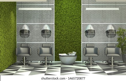 Interior design barbershop. Beauty saloon in loft style with moss on the concrete walls. 3D rendering.